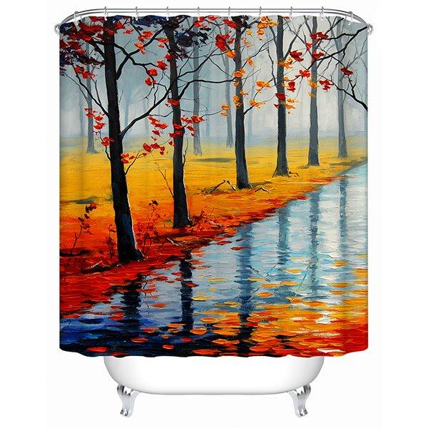 Riverside Oil Painting Print 3D Bathroom Shower Curtain