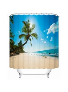 Beautiful Beach and Coconut Tree Print 3D Bathroom Shower Curtain