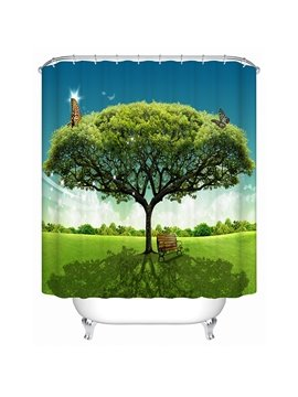 Huge Green Tree Print 3D Bathroom Shower Curtain