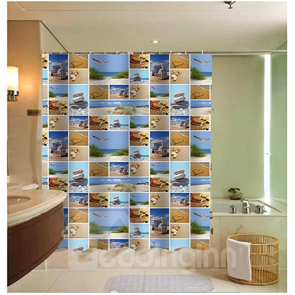 Various Beach Collage Print 3D Bathroom Shower Curtain