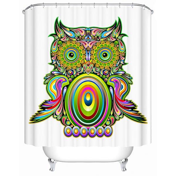 Pop Art Green Owl Print 3D Bathroom Shower Curtain