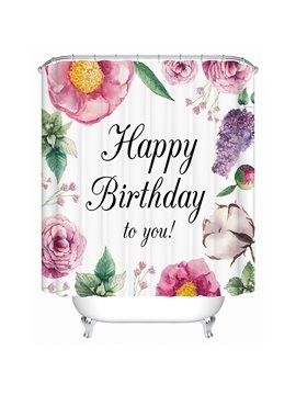 Happy Birthday Floral Print 3D Bathroom Shower Curtain