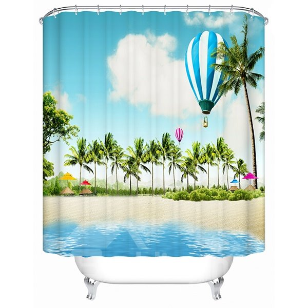 3D Hot-Air Balloon and Coconut Trees Printed Polyester Shower Curtain