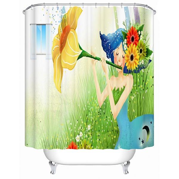 Cartoon Girl Playing the Trumpet Flower Print 3D Bathroom Shower Curtain