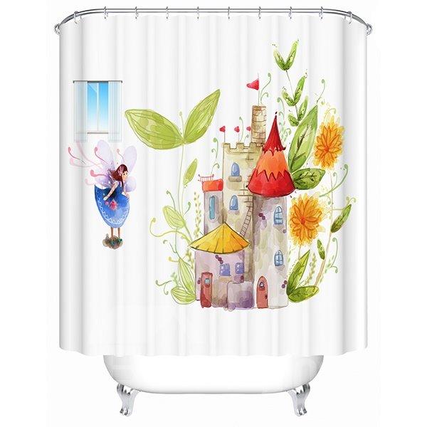 Cartoon Girl Fairy Standing front A Flower Castle Print 3D Bathroom Shower Curtain
