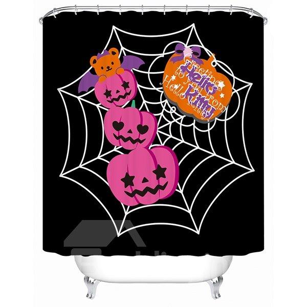 Halloween Pumpkins Hanging on the Web Print 3D Bathroom Shower Curtain