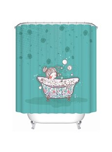 Cartoon Girl Taking Shower Print 3D Bathroom Shower Curtain