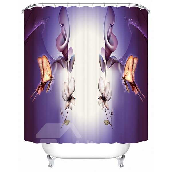 Mysterious Purple Flowers and butterflies Print 3D Bathroom Shower Curtain