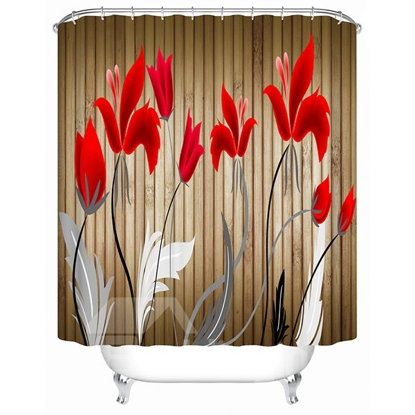 Cartoon Red Tulips Blooming Print 3D Bathroom Shower Curtain