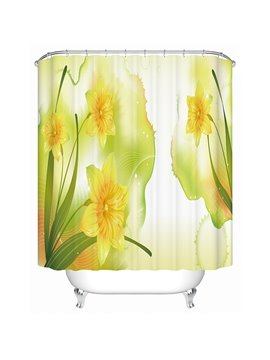 Cartoon Morning Glories Blooming Print 3D Bathroom Shower Curtain