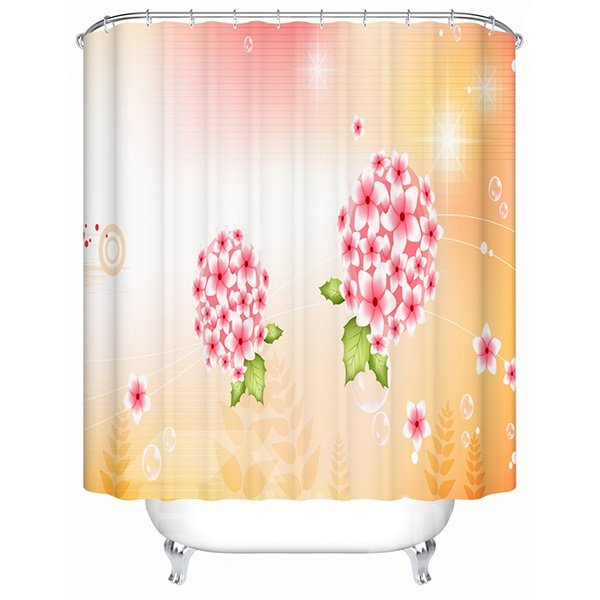 Two Bouquet of Pink Flowers Print 3D Bathroom Shower Curtain