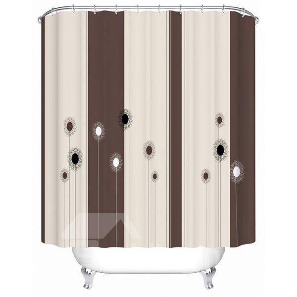 Cartoon Black and White Dandelion Print 3D Bathroom Shower Curtain