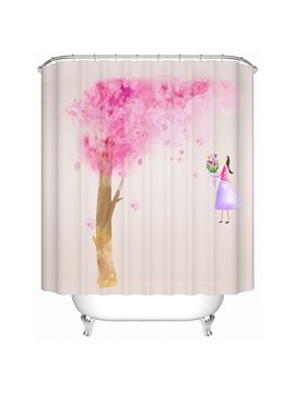 A Cartoon Girl Standing under the Pink Tree Print 3D Bathroom Shower Curtain