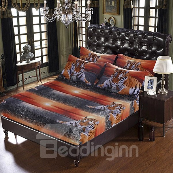 Chic Lying Tiger under Twilight 3D Fitted Sheet