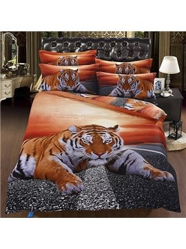 Powerful 3D Lying Tiger under Twilight Flat Sheet