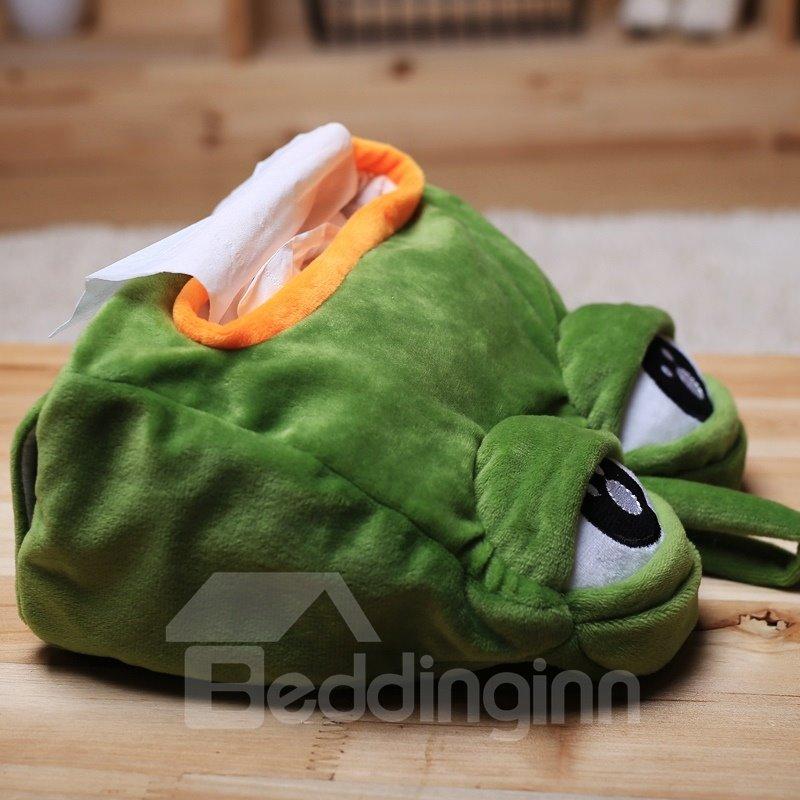 Funny Greem Sad Frog with Big Eye Tissue Box