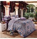Classical Medallion Reactive Printing 4-Piece Cotton Duvet Cover Sets