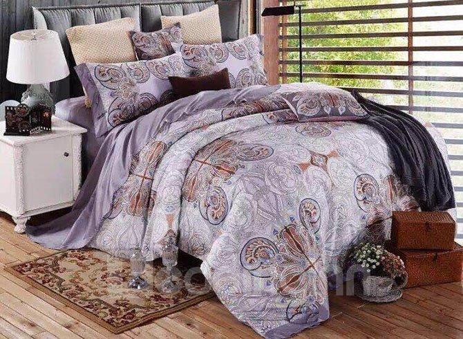 Pure Cotton Ikat Light Purple 4-Piece Bedding Sets