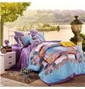 Noble Court Style Sky Blue 4-Piece Cotton Duvet Cover Sets
