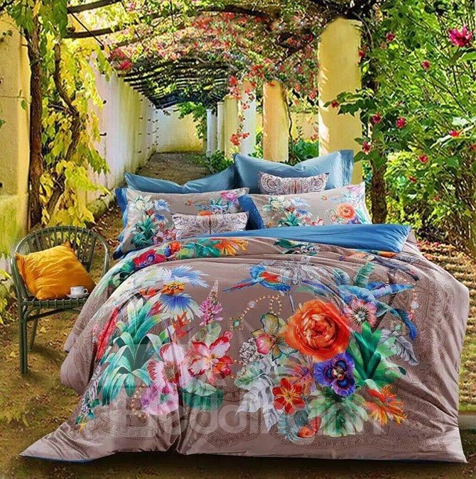 Tropical Style Plants Print 4-Piece Cotton Duvet Cover Sets