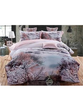 Dreamy Cherry Blossom Print 4-Piece Cotton Bedding Sets