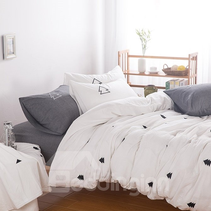 6-Piece Exquisite Pine Tree Embroidered Cotton Bedding Sets
