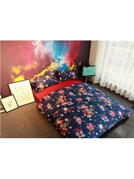 Vintage French Flower Navy Blue 4-Piece Cotton Bedding Sets
