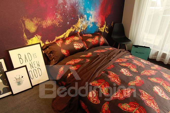 Bucolic Butterfly Reactive Printing Brown 4-Piece Cotton Bedding Sets
