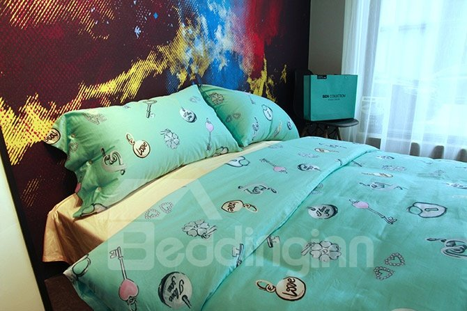 Chic Heart-shape Key Design Turquoise 4-Piece Cotton Bedding Sets