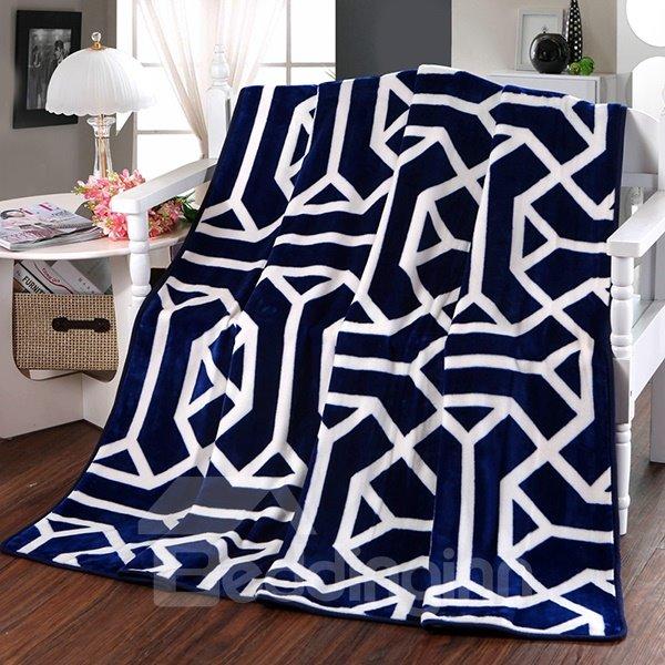 Modern Abstract Stripes Dark Blue Polyester Blanket