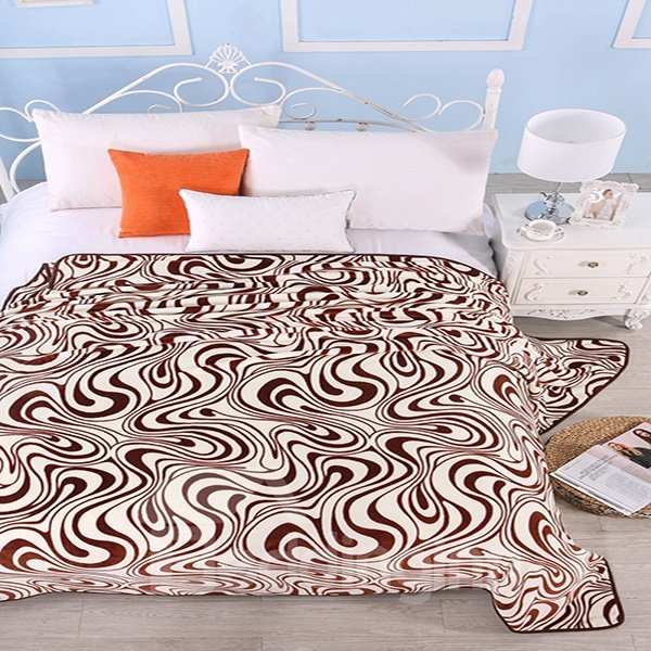 Abstract Stripes Dark Coffee Soft Polyester Blanket