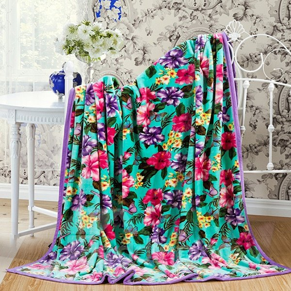 American Pastoral Style Exquisite Floral Polyester Blanket