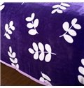Creative Adorable Leaves Print Purple Polyester Blanket