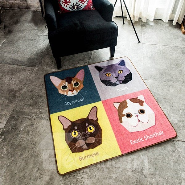 Cute Fashion Square Polyester Fibre Cats Area Rug