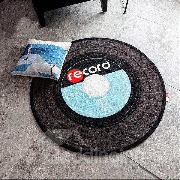 Round Polyester Fibre Creative European Style Record Area Rug