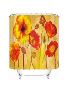 Oil Painting Corn Poppy Print 3D Bathroom Shower Curtain
