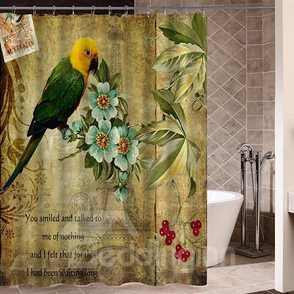 Old Pictorial Green Parrot Standing on Blue Flower Print 3D Bathroom Shower Curtain