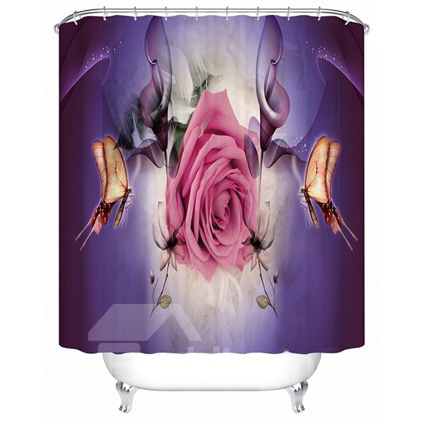Pink Rose and Magic Butterfly Print 3D Bathroom Shower Curtain