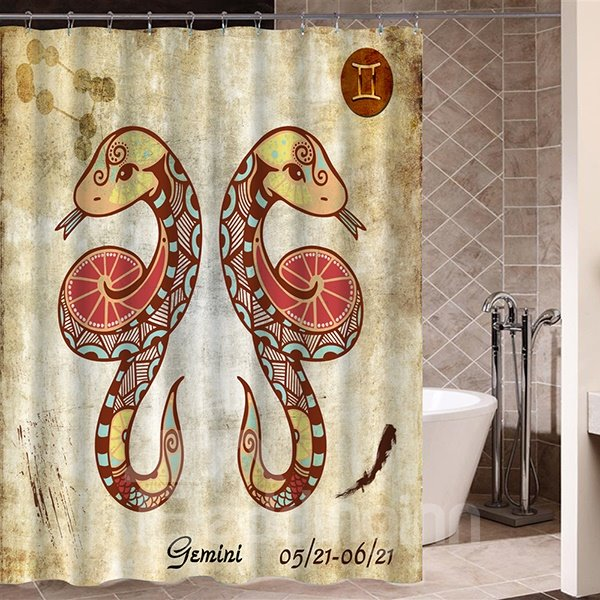 Exotic Gemini Symbol Print 3D Bathroom Shower Curtain