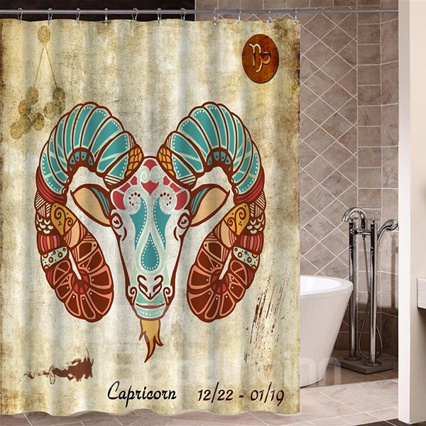 Exotic Aries Symbol Print 3D Bathroom Shower Curtain