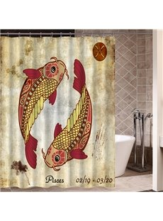 Exotic Pisces Symbol Print 3D Bathroom Shower Curtain