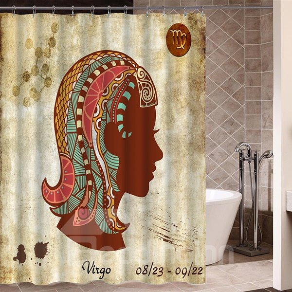 Exotic Virgo Symbol Print 3D Bathroom Shower Curtain