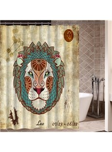 Exotic Leo Symbol Print 3D Bathroom Shower Curtain