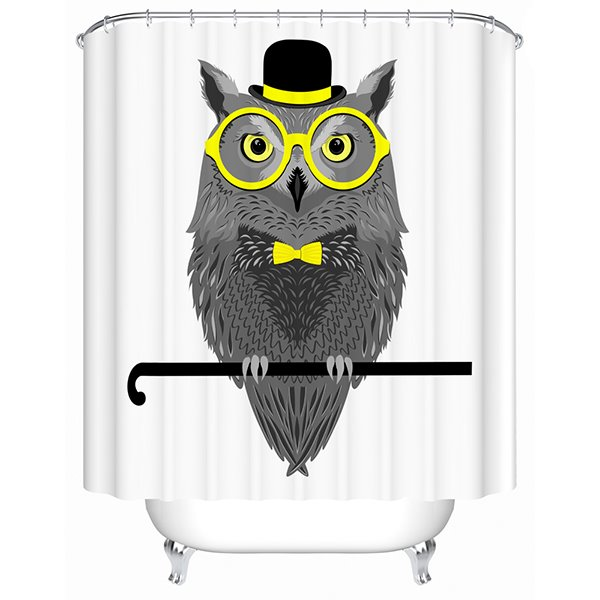 Clip Art Mr.Owl with Yellow Glasses Print 3D Bathroom Shower Curtain