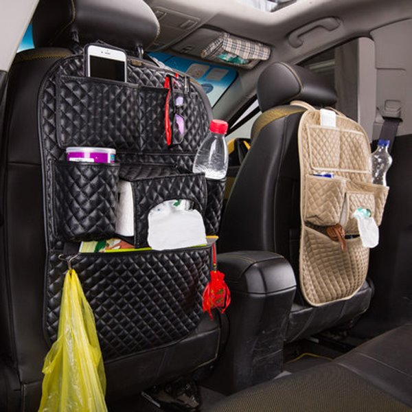 Classic Black Plaid Leather Material Most Popular Backseat Organizer