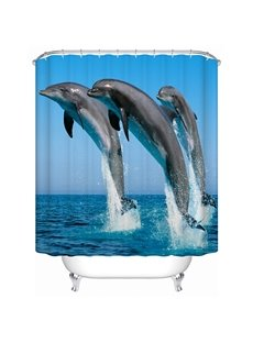 Three Dolphins Jumping in the Water Print 3D Bathroom Shower Curtain