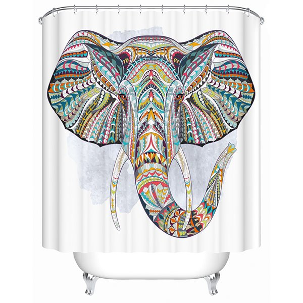 3D Colorful Elephant Printed Polyester Bathroom Shower Curtain