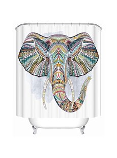 Color Draw Elephant Print 3D Bathroom Shower Curtain