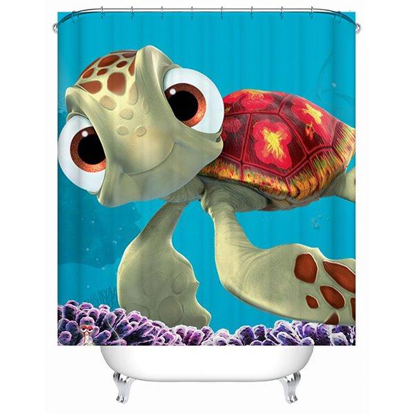 Cute Cartoon Sea Turtle Print 3D Bathroom Shower Curtain