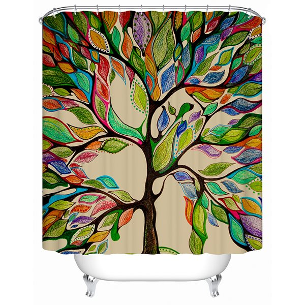Clip Art Colorful Tree Print 3D Bathroom Shower Curtain
